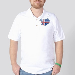 Iceland Flag And Map Golf Shirt