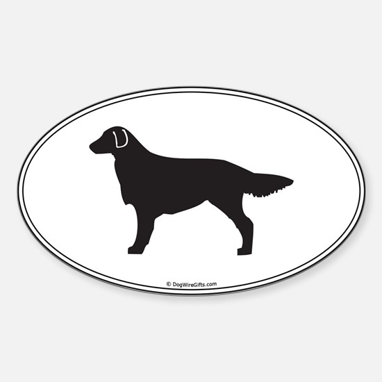 Flat-Coated Silhouette Oval Decal