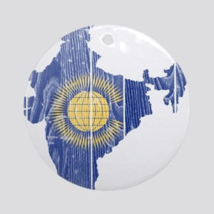India Commonwealth Flag And Map Ornament (Round)
