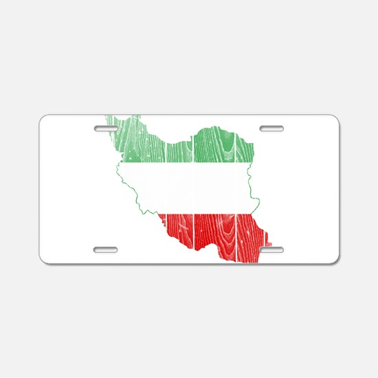 Iran Tri Color Flag And Map Aluminum License Plate