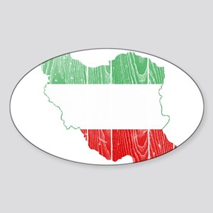 Iran Tri Color Flag And Map Sticker (Oval)
