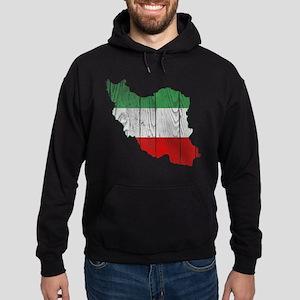 Iran Tri Color Flag And Map Hoodie (dark)