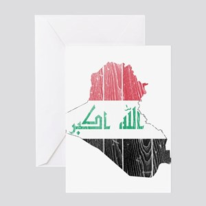 Iraq Flag And Map Greeting Card