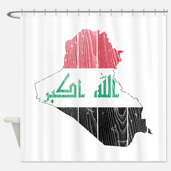 Iraq Flag And Map Shower Curtain