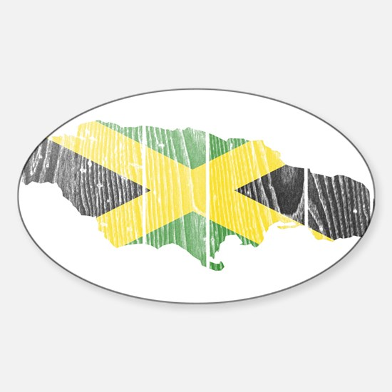Jamaica Flag And Map Sticker (Oval)