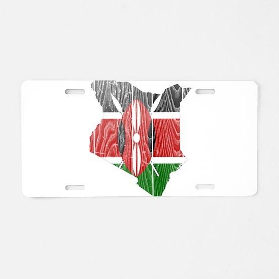 Kenya Flag and Map Wood.png Aluminum License Plate