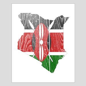 Kenya Flag and Map Wood Small Poster