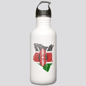 Kenya Flag and Map Wood Stainless Water Bottle