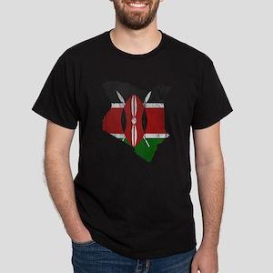 Kenya Flag and Map Wood Dark T-Shirt