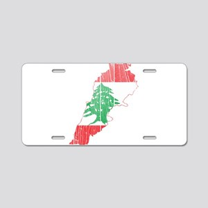 Lebanon Flag and Map Wood Aluminum License Pla