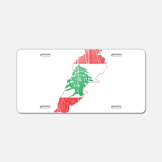 Lebanon Flag and Map Wood.png Aluminum License Pla