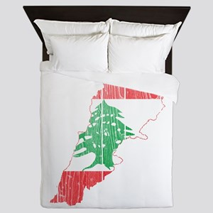 Lebanon Flag and Map Wood Queen Duvet