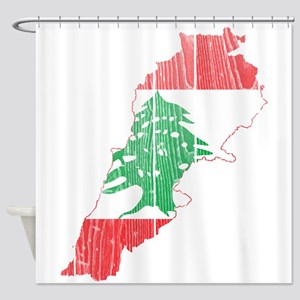 Lebanon Flag and Map Wood Shower Curtain