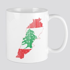 Lebanon Flag and Map Wood Mug