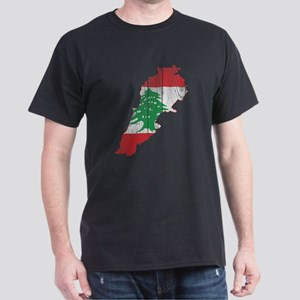 Lebanon Flag and Map Wood Dark T-Shirt