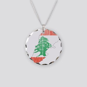 Lebanon Flag And Map Necklace Circle Charm