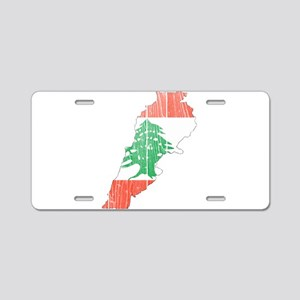 Lebanon Flag And Map Aluminum License Plate