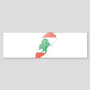 Lebanon Flag And Map Sticker (Bumper)