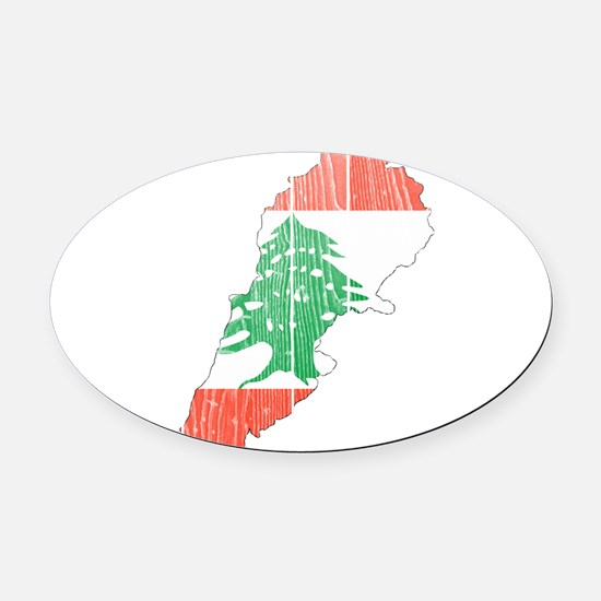 Lebanon Flag And Map Oval Car Magnet