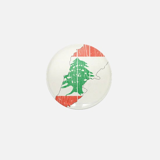 Lebanon Flag And Map Mini Button