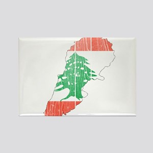 Lebanon Flag And Map Rectangle Magnet