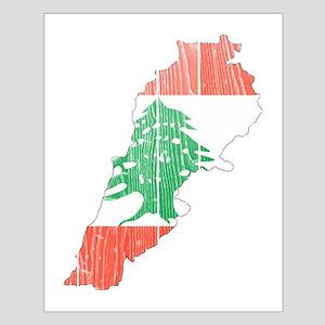 Lebanon Flag And Map Small Poster
