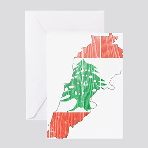 Lebanon Flag And Map Greeting Card