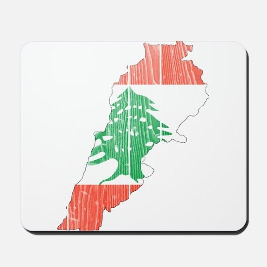 Lebanon Flag And Map Mousepad