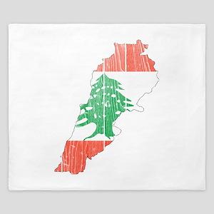 Lebanon Flag And Map King Duvet