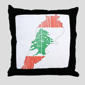 Lebanon Flag And Map Throw Pillow