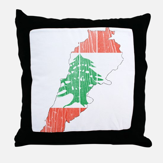 Lebanon Flag And Map Throw Pillow