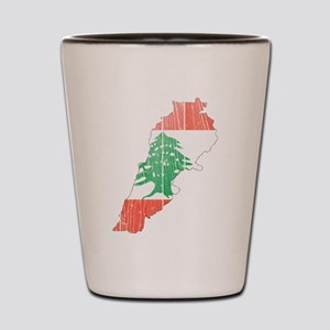 Lebanon Flag And Map Shot Glass