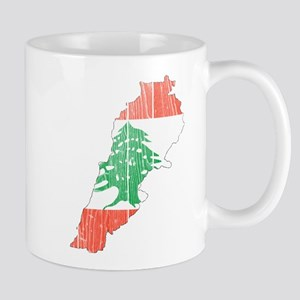 Lebanon Flag And Map Mug