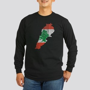 Lebanon Flag And Map Long Sleeve Dark T-Shirt