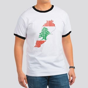 Lebanon Flag And Map Ringer T