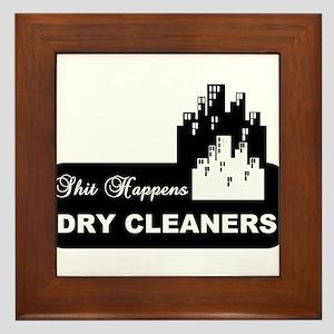 shit happens midtown dry cleaners shirt Framed Til