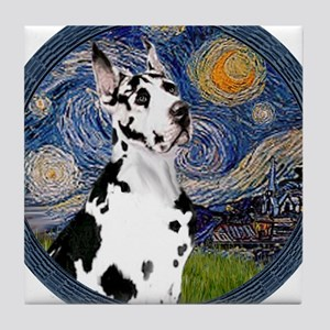 Starry Night - Harlequiin Great Dane Tile Coaster
