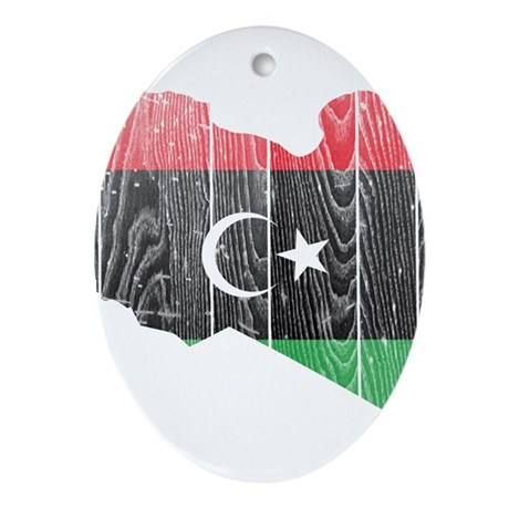 Libya Flag And Map Ornament (Oval)