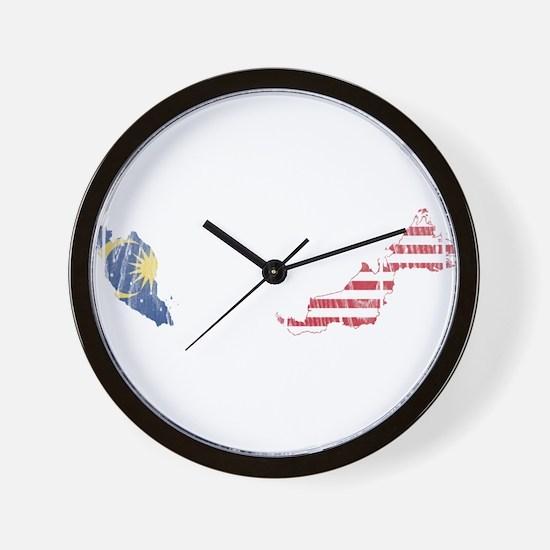 Malaysia Flag And Map Wall Clock
