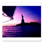 Statue of Liberty Sailing by NYC Square Car Magnet