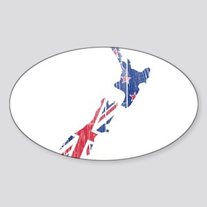 New Zealand Flag And Map Sticker (Oval)