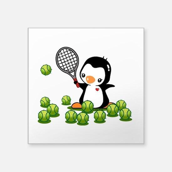 """Tennis Penguin (4) Square Sticker 3"""" x 3"""""""