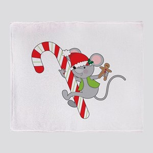 Candy Cane Mouse Throw Blanket