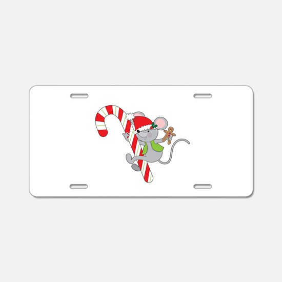 Candy Cane Mouse Aluminum License Plate