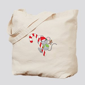 Candy Cane Mouse Tote Bag