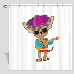 Chihuahua Guitar Shower Curtain