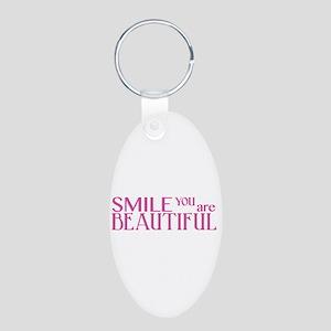 Smile you are Beautiful, Fuchsia Aluminum Oval Key