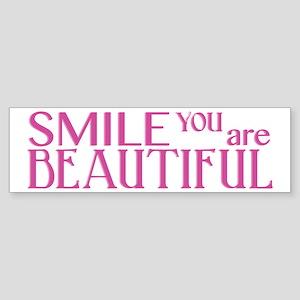 Smile you are Beautiful, Fuchsia Sticker (Bumper)