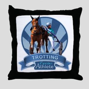 Blue Ribbon Trotting Throw Pillow