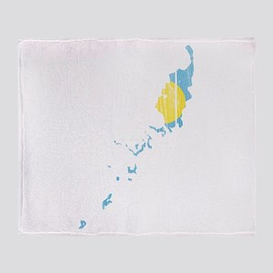 Palau Flag And Map Throw Blanket